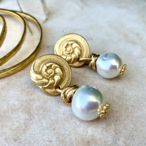 Freshwater Pearls and Seashell Earrings