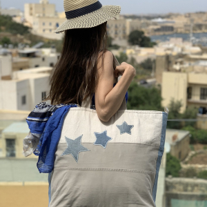 Adira Large Tote Bag in Natural Cottons Denim Stars