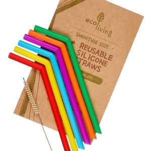 Eco Living Set of 6 Reusable Silicone Straws & Cleaning Brush – Smoothie Size
