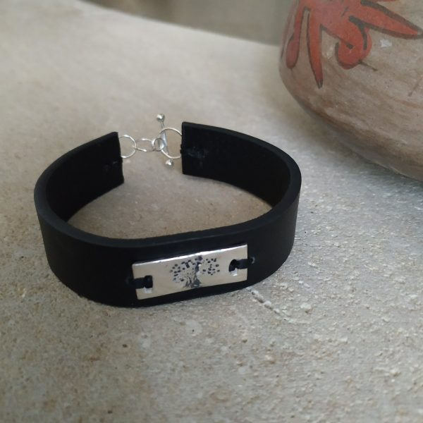 ECO Silver Tree Leather Bracelet